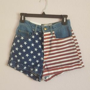 American Apparel High Waisted Flag Denim Shorts 26